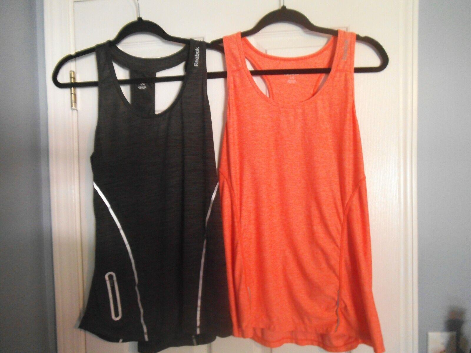 2 -Reebok Women's Tank Tops Size LG Mesh Stretch Racer Back Activewear * LOOK *