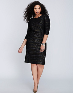 LANE-BRYANT-Metallic-Sheath-Dress-Plus-14-16-18-20-24-26-28-Crinkled-1x-2x-3x-4x