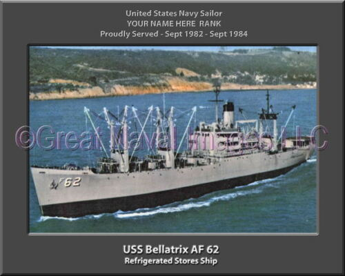 USS Bellatrix AF 62 Personalized Canvas Ship Photo Print Navy Veteran Gift