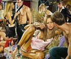 Art Quality Canvas Print,Oil Painting Adult gathering wine  20×24