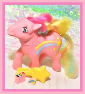 My-Little-Pony-MLP-G1-Vtg-Rainbow-Curl-Ponies-STRIPES-amp-Shooting-Star-Brush