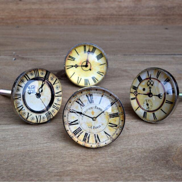 Clock Face Drawer Knob, Vintage Antique Style, Cupboard Door Kitchen Handle Pull