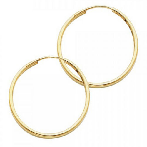 Real 14K Yellow Italian Gold 1inch Polish Plain Endless Hoop Earrings 1.5mmx25mm