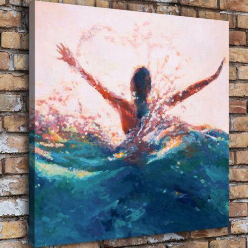 "Mermaid Abstract Waves 16/""x16/"" HD Canvas prints Painting Home Decor Wall art"