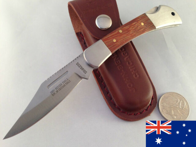 x5 Large Folding leather pouch hunting camping fishing pocket bowie knife