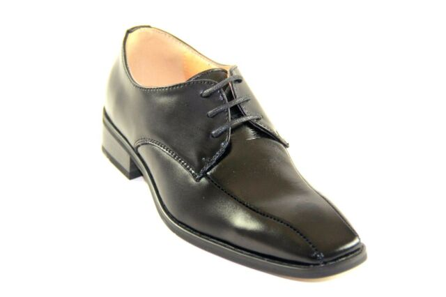 La Milano Boy's Black Leather Oxford Dress Shoes Style# AT6233