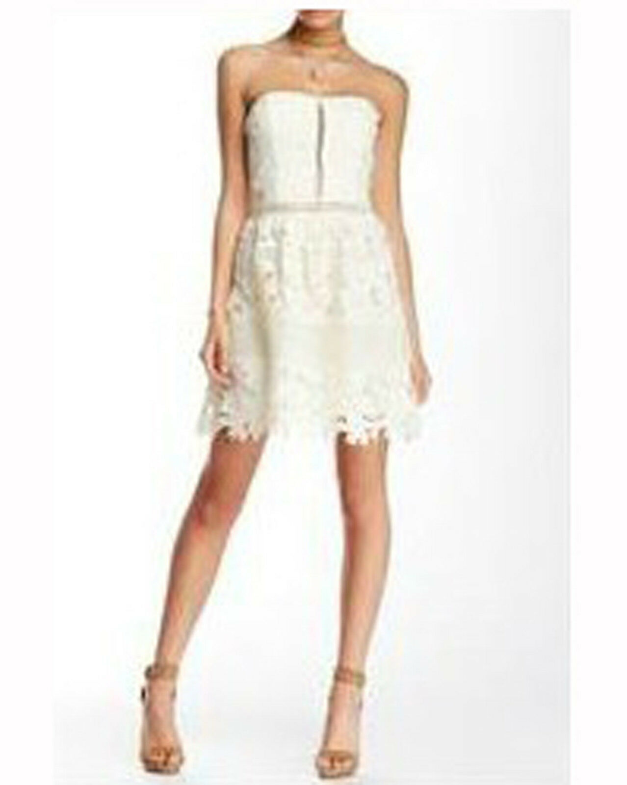 NEW ROMEO+JULIET COUTURE COUTURE COUTURE WOMENS FIT & FLARE LACE DRESS GOWN TOP STRAPLESS SZ L a90f9c
