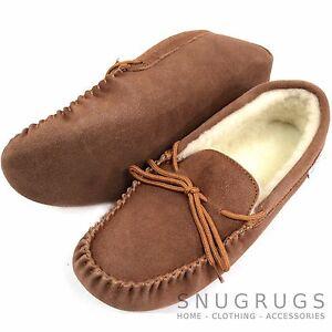 SNUGRUGS-MENS-GENUINE-SUEDE-MOCCASIN-SHEEPSKIN-SLIPPERS-SOFT-SOLE-LIGHT-BROWN