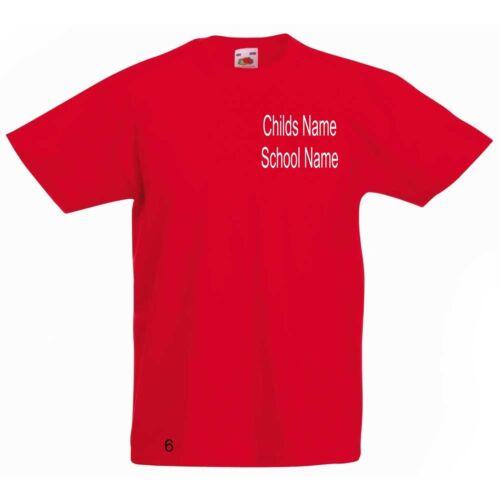 Kids Boys Girls School PE Kit T Shirts /& Hoodies Embroidered Name /& School
