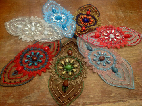 """SUNDANCE COLLECTION Embroidered APPLIQUE BEADS 4X8/"""" Hand Sewn 1pc"""
