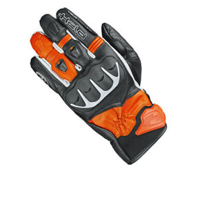 HELD-Dash-sportliche-Motorradhandschuhe-schwarz-orange-L-9-Lederhandschuhe