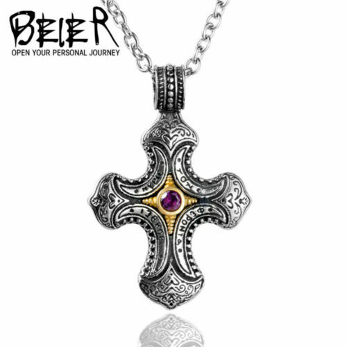 Fashion Cross With Zircon Pendant Necklace Stainless Steel Unisex Unique Jewelry