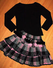 GIRLS BLACK TOP & GREY PINK TARTAN RUFFLE SKATER PARTY SKIRT with BELT age 5-6