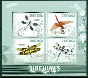 Madagascar-Dragonflies-Insects-Fauna-MNH-stamp-set-4val-sht-s-s