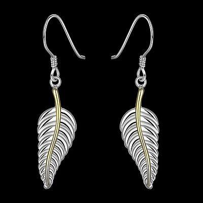 Ohrringe Feder Blüte Blatt Silber plattiert Geschenk Ohrringe Schmuck Vogel | eBay