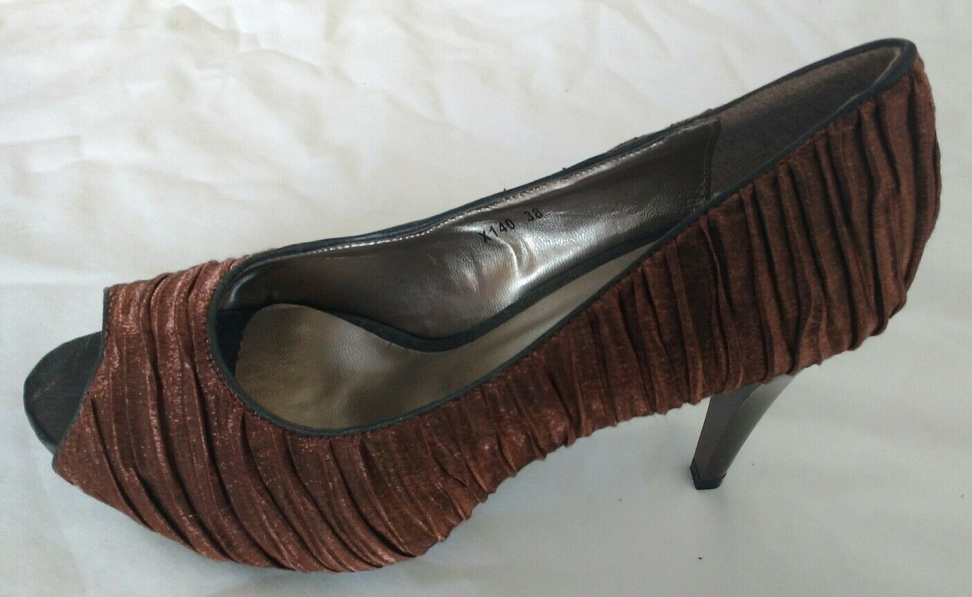 Poti Pati Womens Ladies Brown High Heel Heeled Court Shoes Size 5/38 Brand New