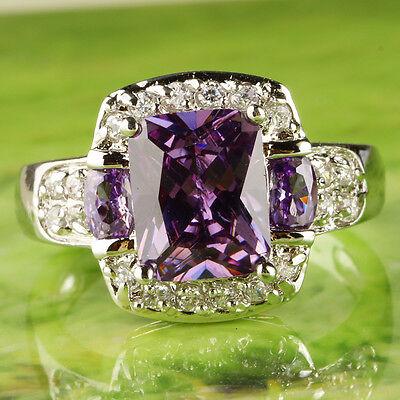 Brilliant Emerald Cut Amethyst & White Topaz Gemstone Silver Ring Size 7 8 9 10