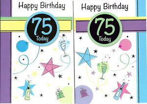 Image Is Loading Age 75 Birthday Cards 75th NEW