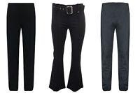 Girls Kids Plain School Belted Stretch Flared Trousers Zip Fasten Age 2-16 Black