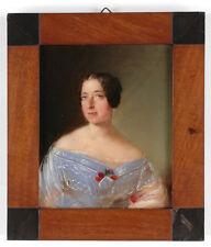 """""""Portrait of a lady"""", German Biedermeier, small oil on panel, ca. 1830"""