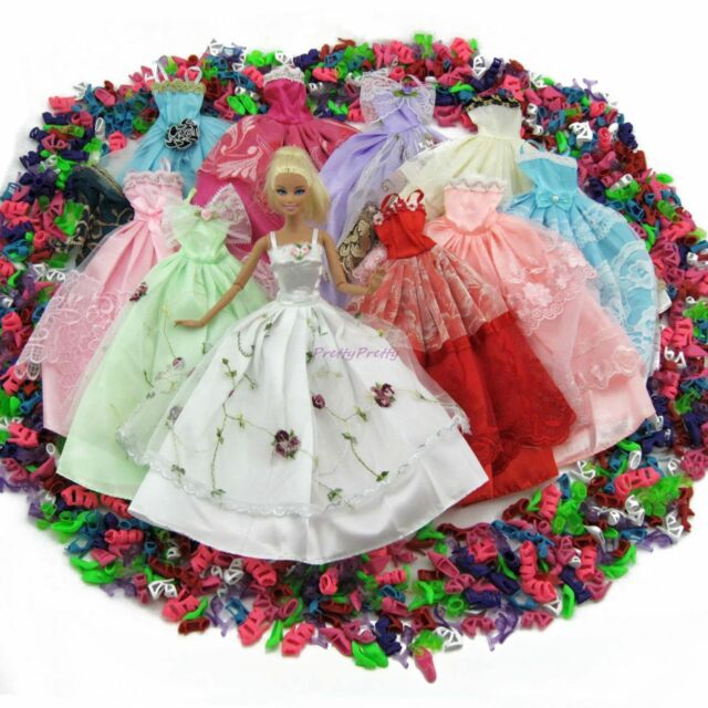 15= Handmade 5 Wedding Party Dress Lace Gown + 10 Shoes Clothes For 12 in. Doll