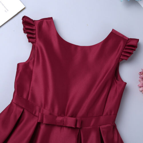 Kids Girls Satin Bowknot Flower Dress Princess Pageant Wedding Bridesmaid Party