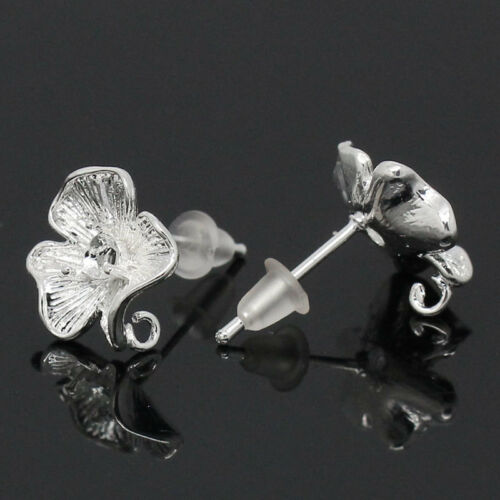 """5//8/""""x4//8/"""" 10 PCs Copper Earring Post Flower Silver Plated 17mmx12mm"""
