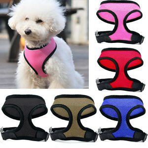 NEW Soft Mesh Padded Puppy Pet Dog Harness Black Pink Red Blue Brown