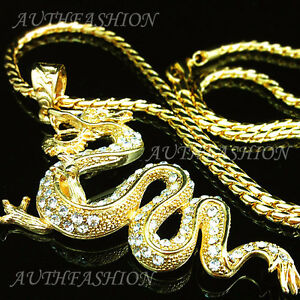 315 inch gothic punk 18k gold plated mens chinese dragon pendant image is loading 3 15 inch gothic punk 18k gold plated aloadofball Choice Image