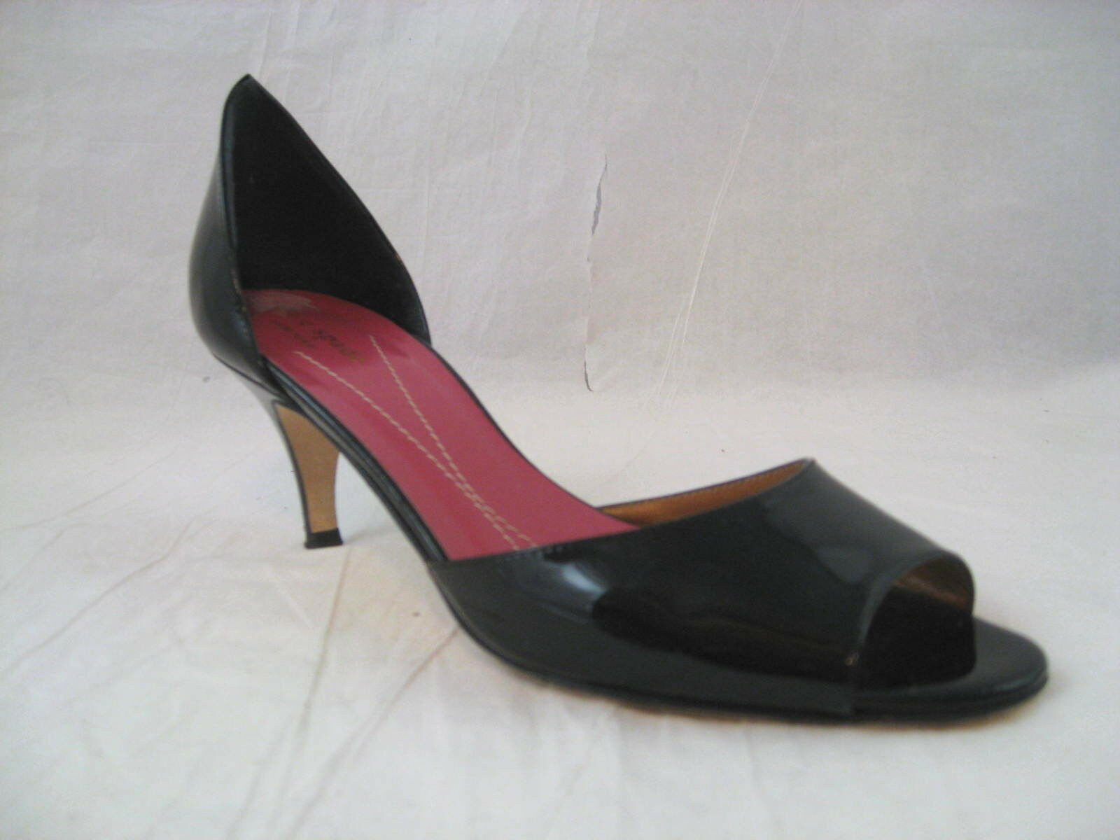 Kate Spade New York Womens Peep Toe Black Patent Pump shoes Size 8 B Made Italy