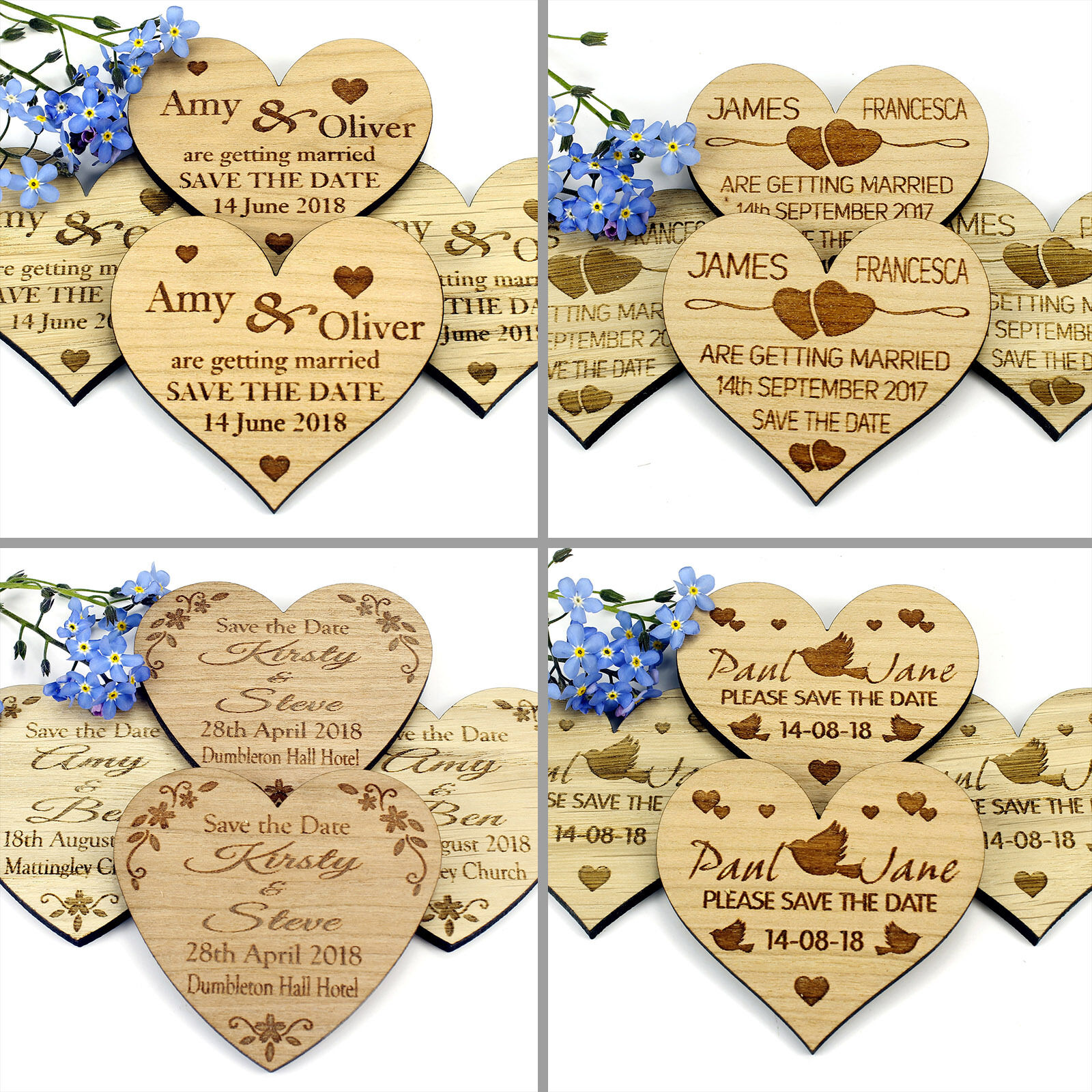 Save The Date Magnet Wood Wedding Rustic Wooden Invitation - Heart Designs
