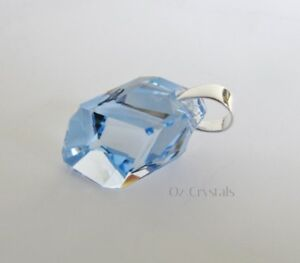 Pendant-Made-With-Swarovski-Sapphire-Cubist-amp-Solid-925-Sterling-Silver-Bail