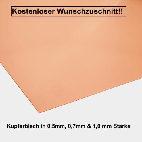 Cuivre tôle 0,5 mm BE-Expédition 0,7 mm /& 1,0 mm d/'épaisseur Cuivre Design at.ch.fr