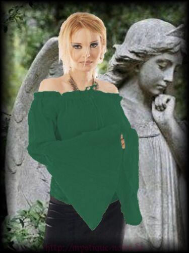 46 48 Glockenarme Pixie Elfe Gothic Mittelalter Carmen Bluse grün  XXL 44