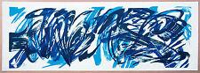 K.O. Götz 1914:  Blau-Schwarz Informel Lithographie 35 x 98 cm signiert, 122/200