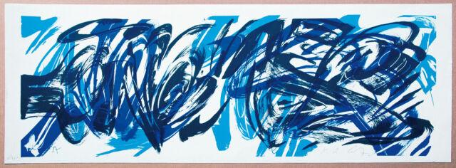 K.O. Götz 1914-2017  Blau-Schwarz Informel Lithographie 35 x 98 cm signiert num.