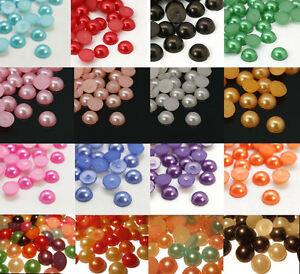 50 Stück Halbperlen Lila Acryl 6mm zum Basteln Scrapbooking lila Perlen