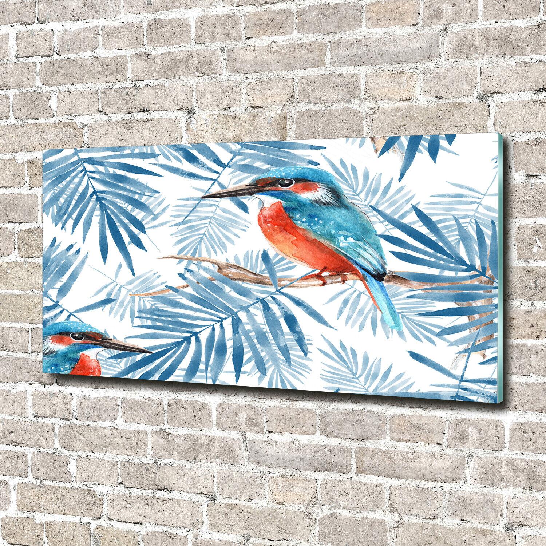 Wandbild aus Plexiglas® Druck auf Acryl 140x70 Tiere Pflanzen und Vogel
