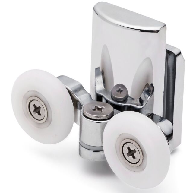 2 x Twin Bottom Shower Door Rollers/Runners/Wheels 23mm dia (6mm glass) L067
