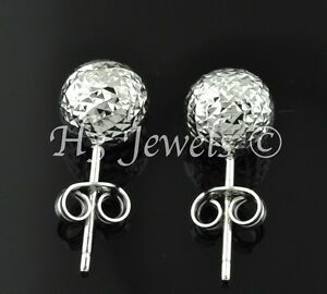 Details About 1 40 Grams 18k Solid White Gold 8 Mm Earring Earrings Diamond Cut Ball Stud 65