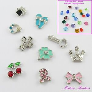 Rhinestone-Floating-Charm-Living-Memory-Locket-Various-Styles-2-FREE-Crystals