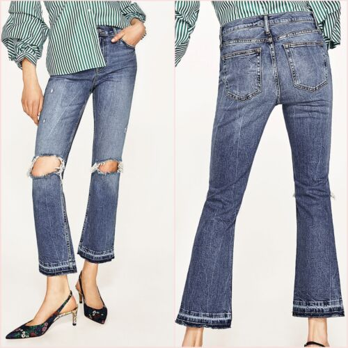 Zara A Coste Vita Alta Slim Jeans Bootcut tagliata UK 6 8 10 US 2 4 6 Blogger ❤