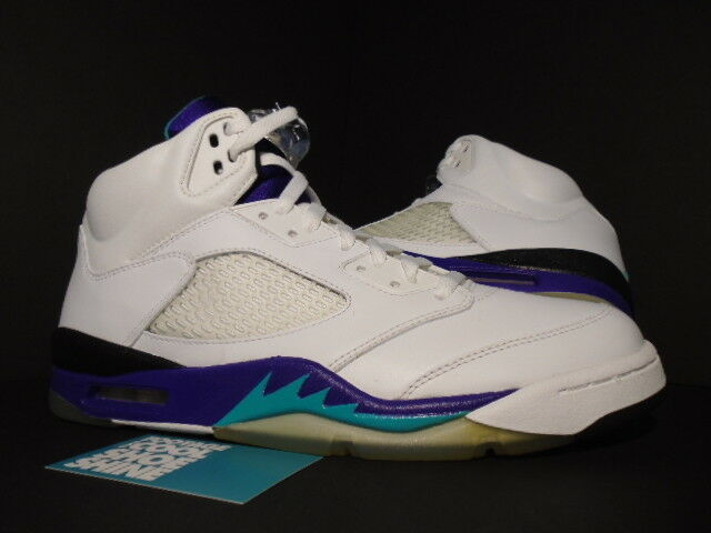 Jordan V 5 2006 Nike Air Retro Esmeralda Uva hielo LS blancoo Púrpura 314259-131 10.5
