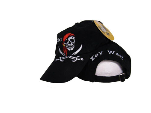 Black Key West Pirate Calico Red Hat Conch Republic Washed Style Hat Cap #2
