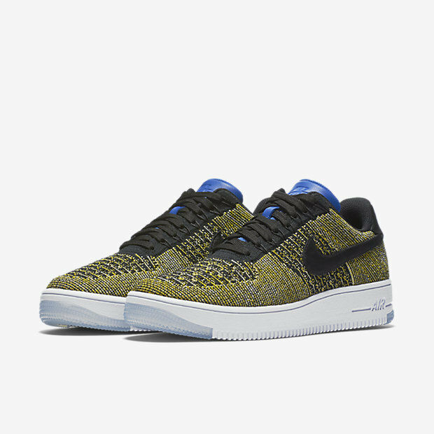 Women's Nike Air Force 1 Flyknit Low Black/Blue Tint-Game Royal NIB 820256-004