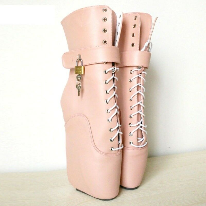 Zapatos especiales con descuento PINK LOCKING LETHER Ankle High PONY Ballet Boots, high heals, sexy boot, corset