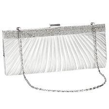 White Satin Crystal Diamante Design Wedding Evening Clutch Bag Prom Bridal Purse