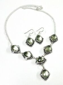 Green-Amethyst-Quartz-Chaker-Cut-925-Silver-Plated-Necklace-Earring-Set