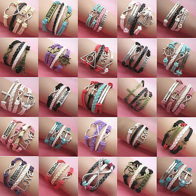 NEW fashion Jewelry Leather Cute Infinity Charm Bracelet Silver YOU pick Style