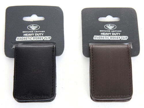 Men/'s New Genuine Leather Strong Magnetic Money Clip Black
